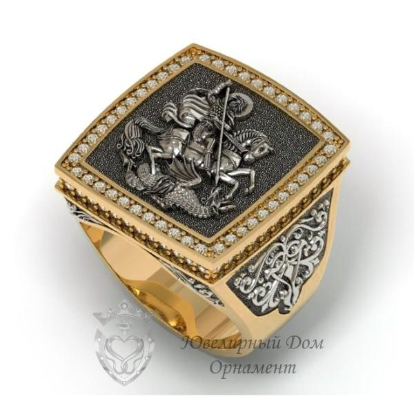 Перстень Георгий Победоносец из золота