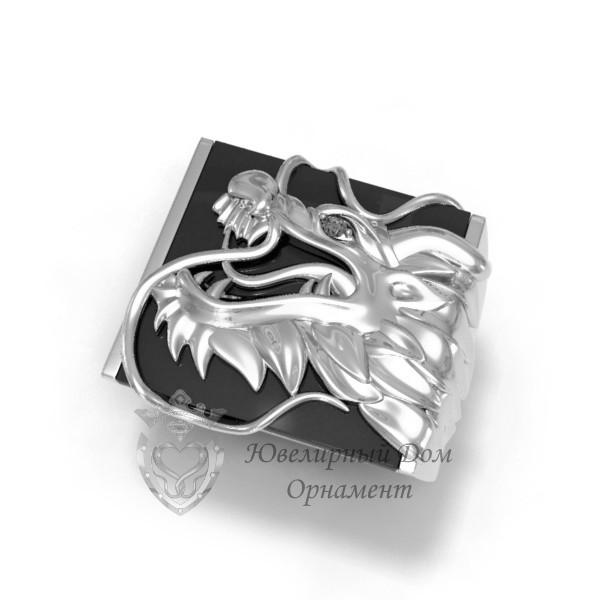 Серебряная печатка с драконом