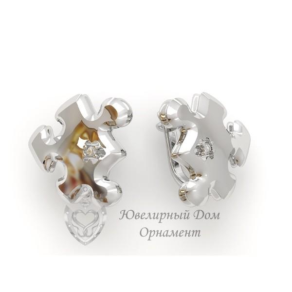 Серебряные серьги Пазлы
