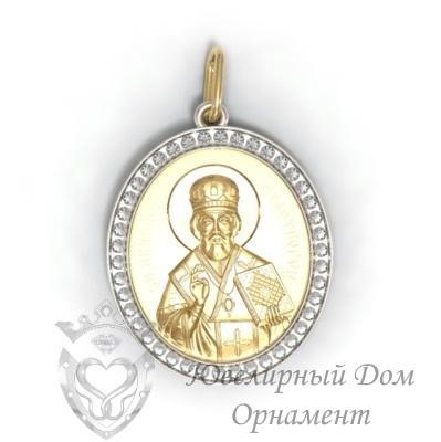 Подвеска Николай Чудотворец с вставками