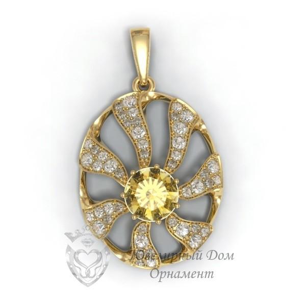 Подвеска из золота с Цитрином
