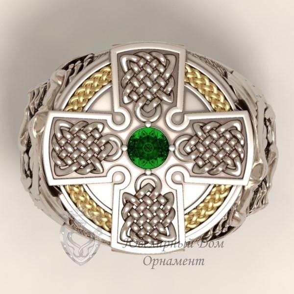 Перстень с драконом из серебра