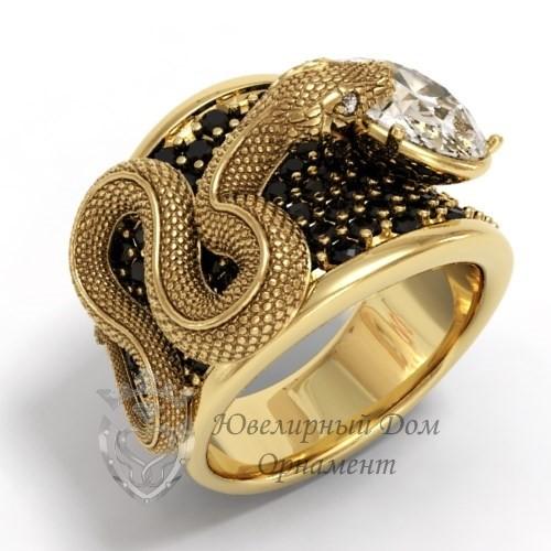 Женское кольцо со змеей