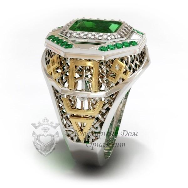 Перстень из белого золота с накладками