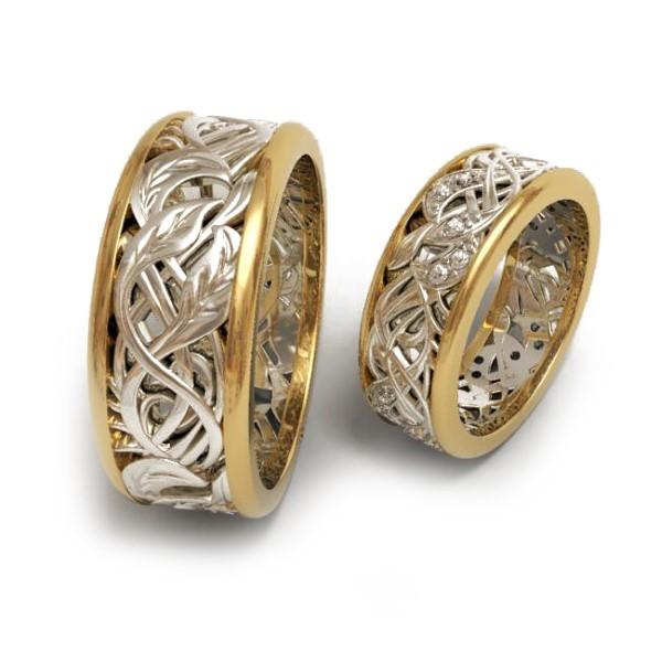 Обручальное кольцо из белого и красного золота